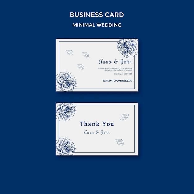 Plantilla de boda para tarjeta de visita PSD gratuito