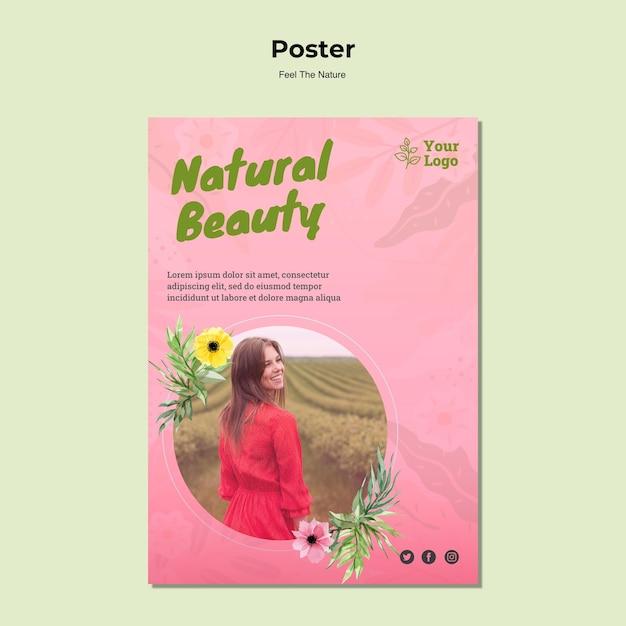 Plantilla de cartel de belleza natural PSD gratuito