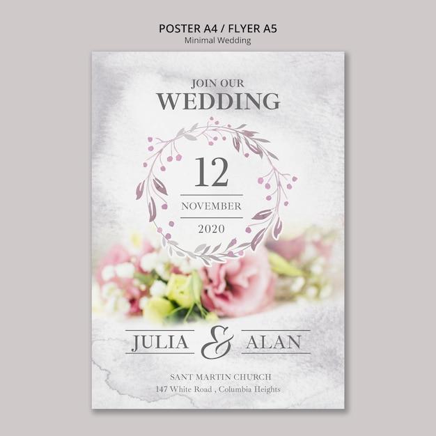 Plantilla de cartel de boda minimalista floral PSD gratuito