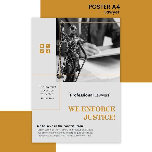 Plantilla de cartel de bufete de abogados PSD gratuito
