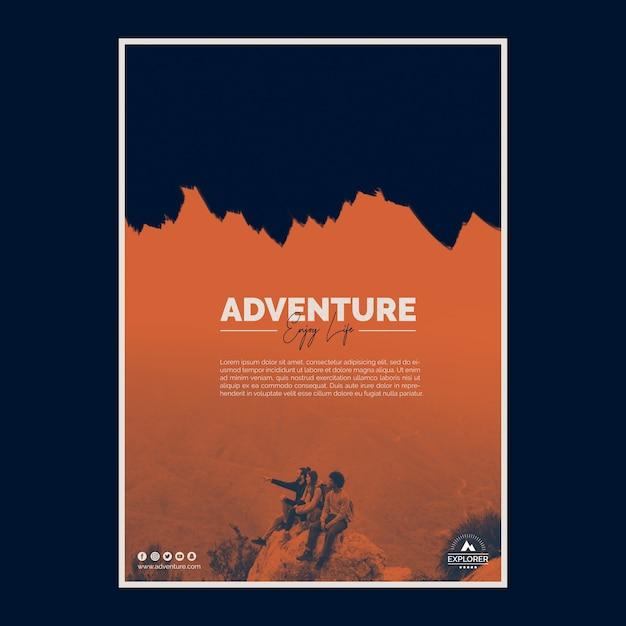 Plantilla de cartel con concepto de aventura PSD gratuito