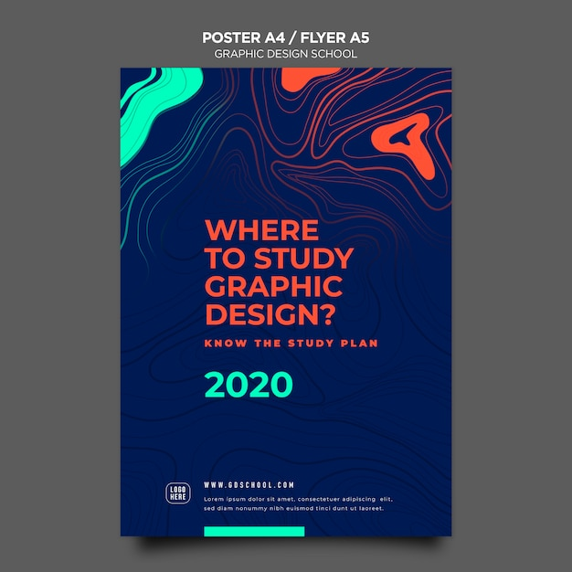 Plantilla de cartel de escuela de diseño gráfico PSD gratuito