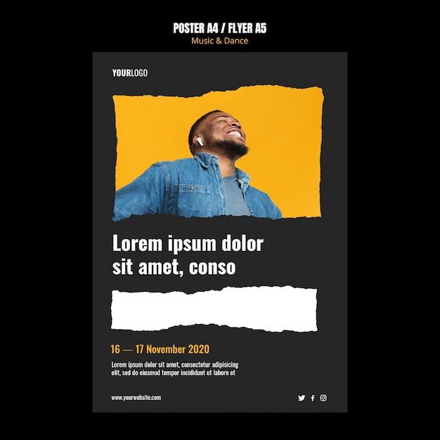 Plantilla de cartel de evento de música y danza PSD gratuito