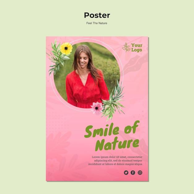 Plantilla de cartel de sonrisa de la naturaleza PSD gratuito