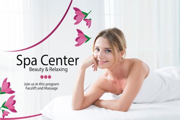 Plantilla de centro de spa con mujer posando PSD gratuito