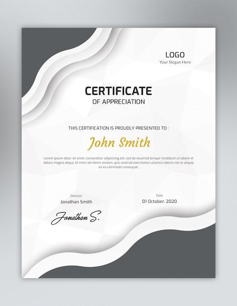 Plantilla de certificado de color gris vertical con un patrón de polígono PSD Premium