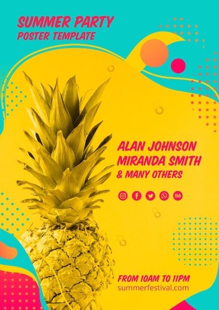 Plantilla colorida de cartel de fiesta de verano PSD gratuito