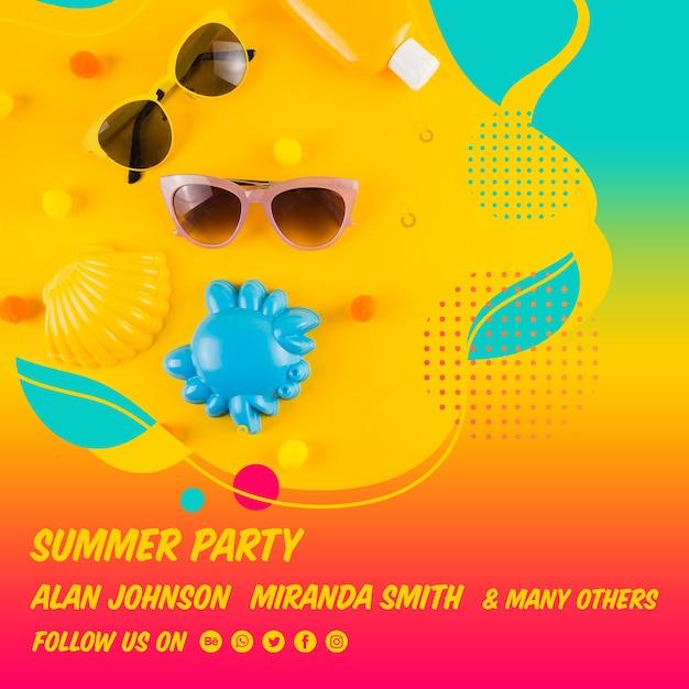 Plantilla colorida de post cuadrado de fiesta de verano PSD gratuito
