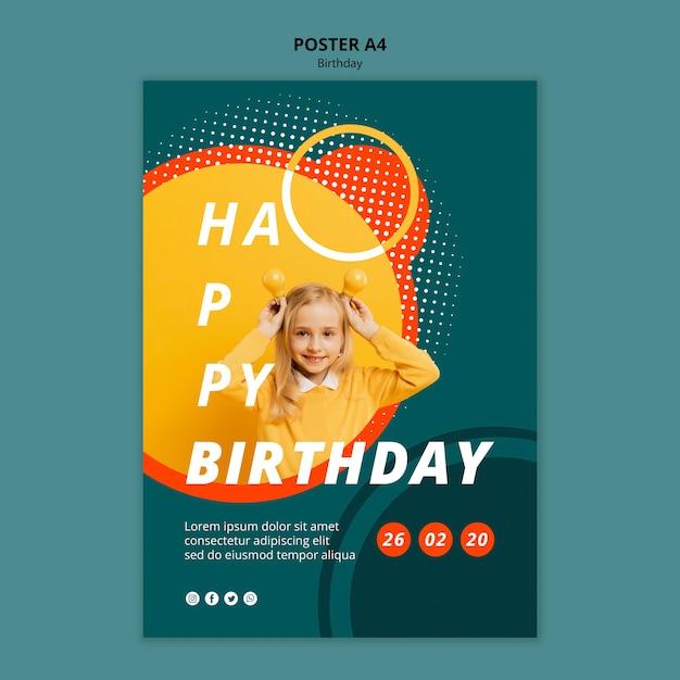 Plantilla de concepto de cartel de feliz cumpleaños PSD gratuito