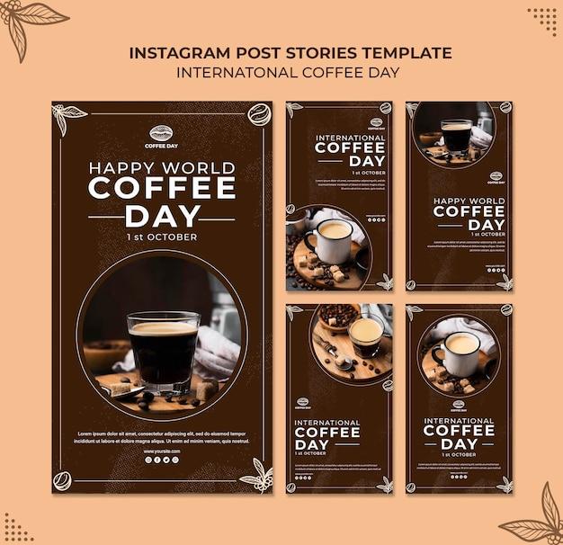 Plantilla de concepto de historias de instagram del día internacional del café PSD gratuito