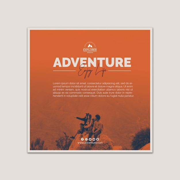 Plantilla de cover cuadrado con concepto de aventura PSD gratuito