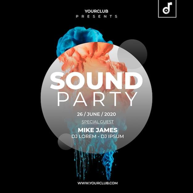 Plantilla de cover de fiesta de sonido PSD gratuito