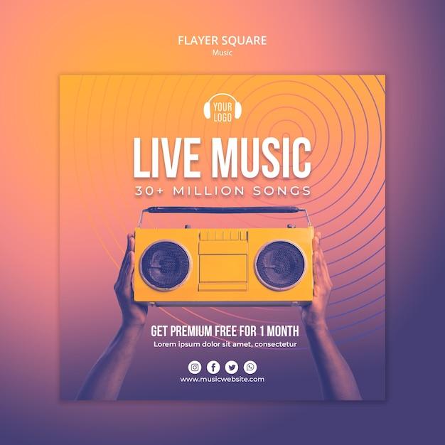 Plantilla cuadrada de volante de concepto de música PSD gratuito