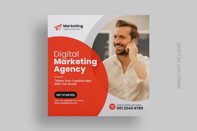 Plantilla de cuadrado de banner de redes sociales de marketing empresarial PSD Premium