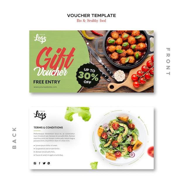 Plantilla de cupón de alimentos saludables y bio PSD gratuito