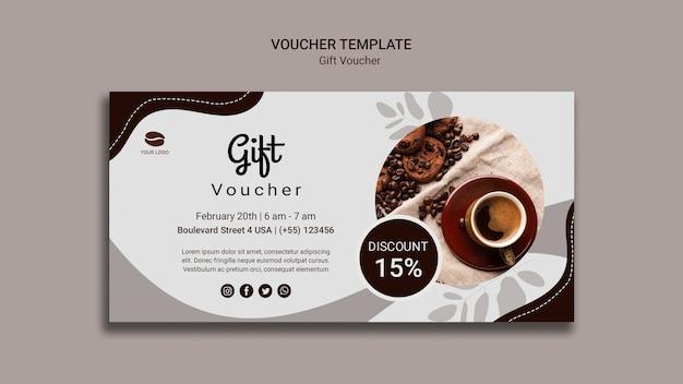 Plantilla de cupón de regalo de café PSD gratuito