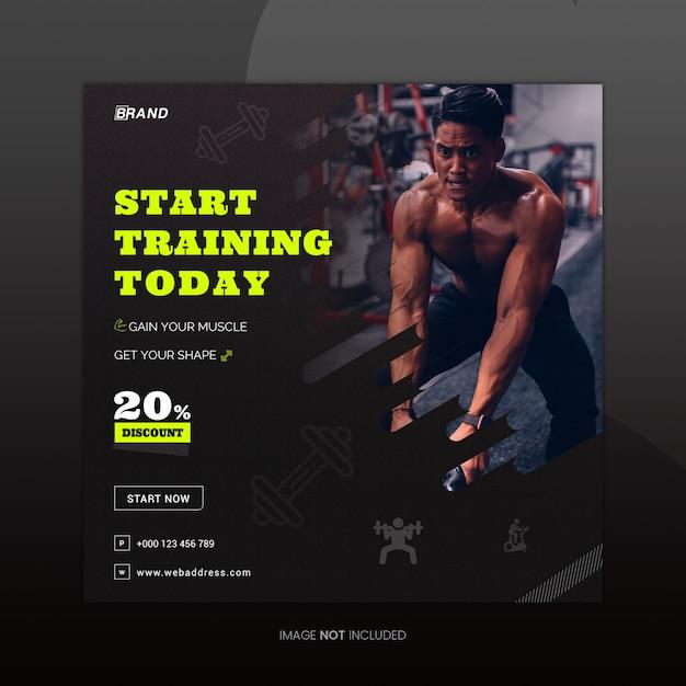 Plantilla de diseño de banner de medios sociales de fitness PSD Premium