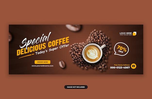 Plantilla de diseño de banner de portada de facebook de venta de café delicioso PSD Premium