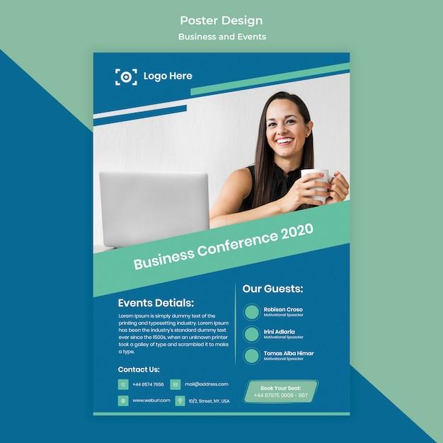 Plantilla de diseño de póster para evento empresarial PSD gratuito