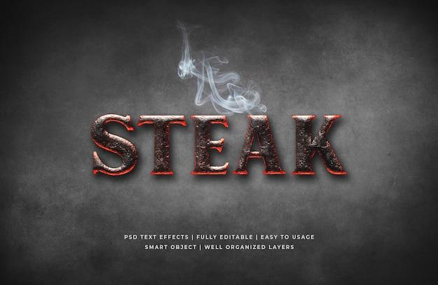 Plantilla de efecto de estilo de texto 3d de steak house PSD Premium