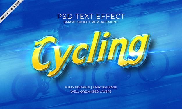 Plantilla de efecto de texto azul y amarillo de velocidad de ciclismo PSD Premium