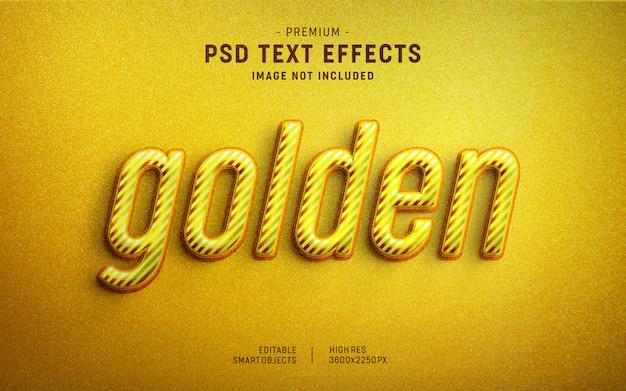 Plantilla de efecto de texto de rayas doradas PSD Premium
