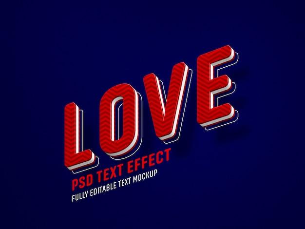 Plantilla de efecto de texto de san valentín amor PSD Premium