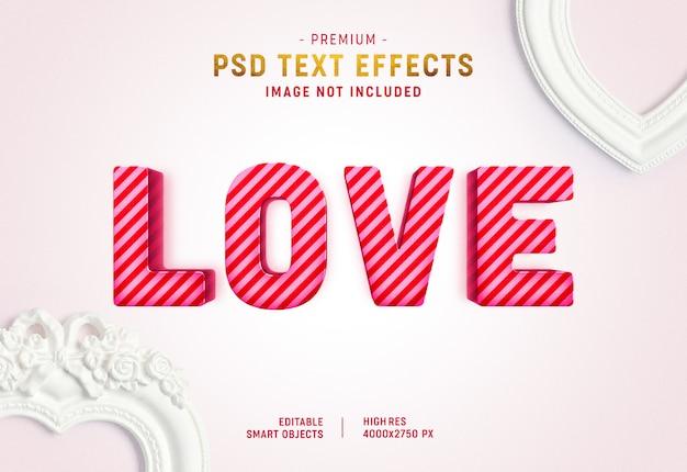 Plantilla de efecto de texto de san valentín a rayas PSD Premium