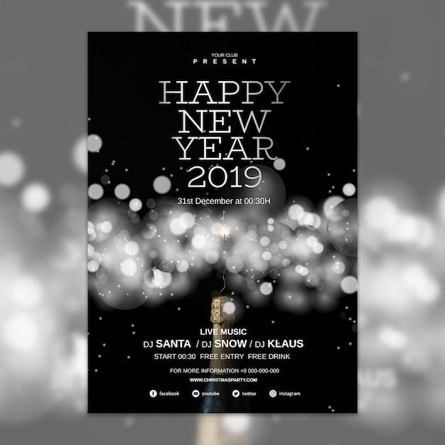 Plantilla elegante de cover de año nuevo PSD gratuito