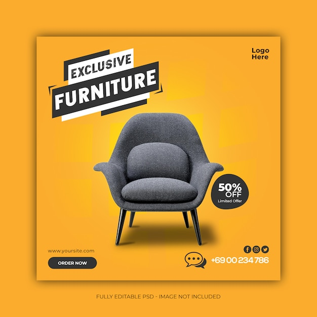Plantilla exclusiva de banner de redes sociales para venta de muebles PSD Premium
