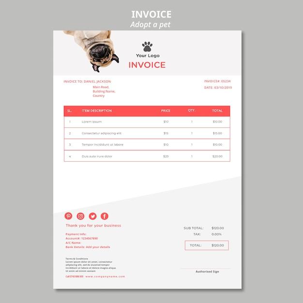 Plantilla de factura con mascota adoptada PSD gratuito
