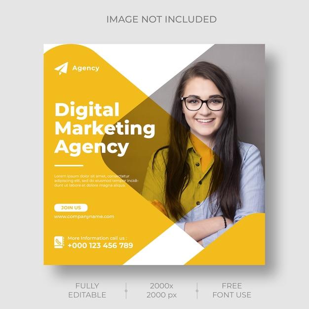 Plantilla de feed de publicaciones de instagram de marketing digital PSD gratuito