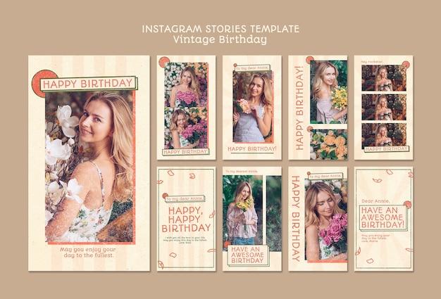 Plantilla feliz cumpleaños historias instagram PSD gratuito
