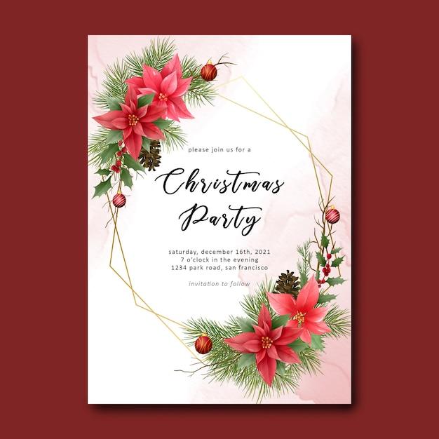 Plantilla de fiesta de navidad con decoración de adornos navideños y fondo de acuarela PSD Premium