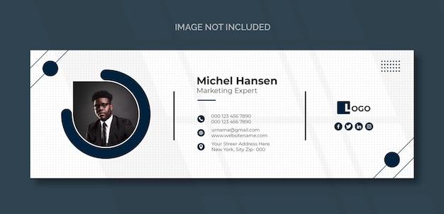 Plantilla de firma de correo electrónico o pie de página de correo electrónico y diseño de portada de redes sociales personales PSD gratuito
