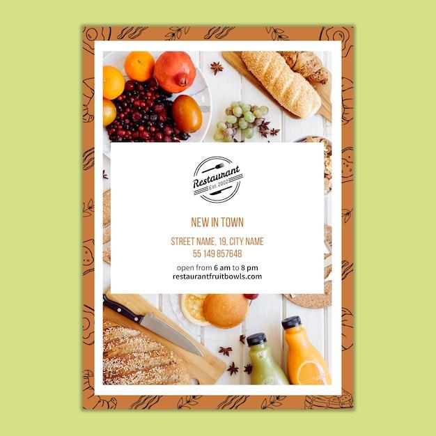 Plantilla de flyer para concepto de branding de restaurante PSD gratuito