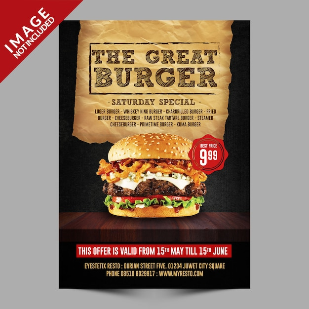 Plantilla flyer hamburguesa PSD Premium