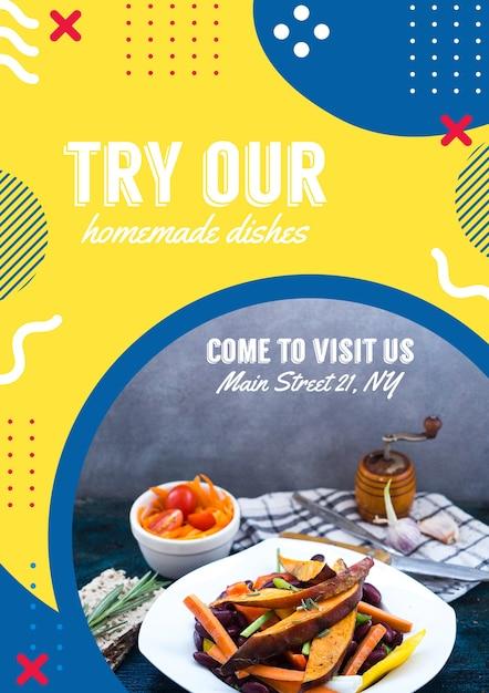 Plantilla de flyer para restaurante en estilo memphis PSD gratuito