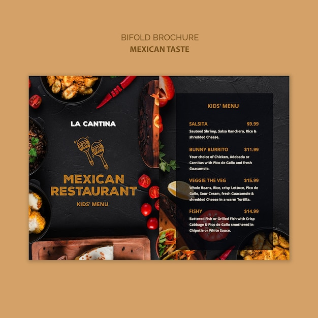 Plantilla de folleto bifold de restaurante mexicano PSD gratuito