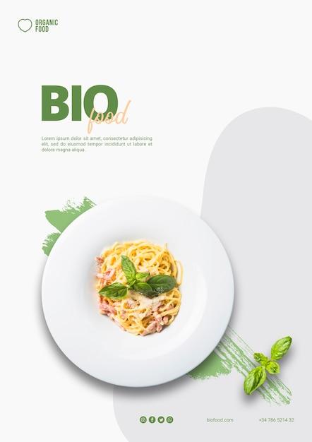 Plantilla de folleto de comida bio con foto PSD gratuito