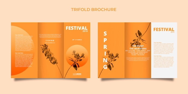 Plantilla de folleto tríptico con concepto de festival de primavera PSD gratuito