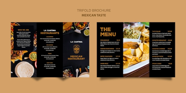 Plantilla de folleto tríptico de restaurante mexicano PSD gratuito