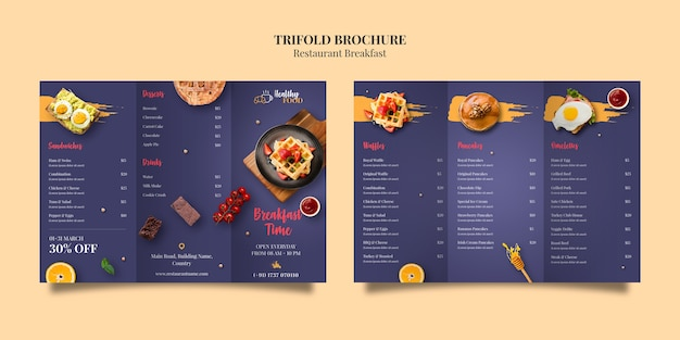 Plantilla de folleto tríptico de restaurante PSD Premium