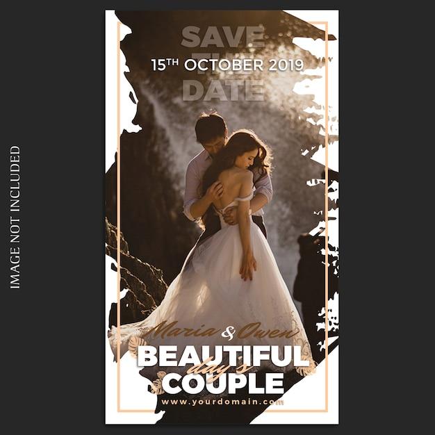 Plantilla de historias de bodas de instagram PSD Premium