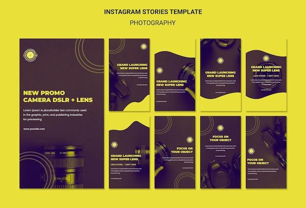 Plantilla de historias de instagram de anuncio de fotografía PSD gratuito