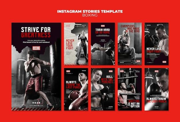 Plantilla de historias de instagram de anuncios de boxeo PSD gratuito