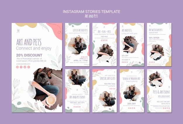 Plantilla de historias de instagram de arte y mascotas PSD gratuito