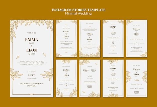 Plantilla de historias de instagram de boda PSD gratuito