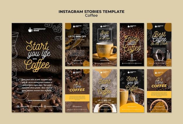 Plantilla de historias de instagram de café PSD gratuito