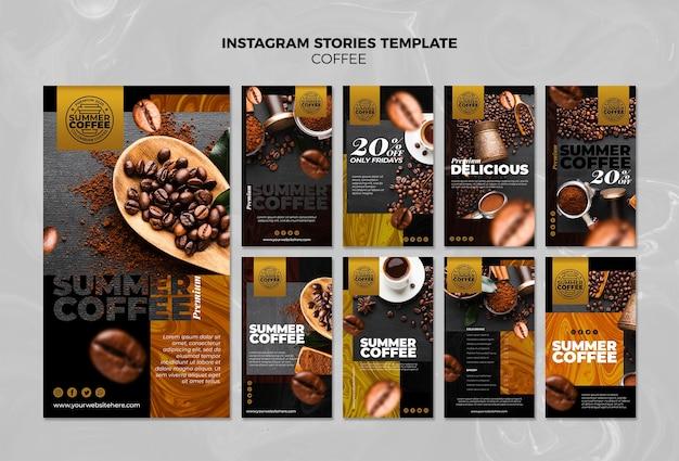 Plantilla de historias de instagram de cafetería PSD gratuito